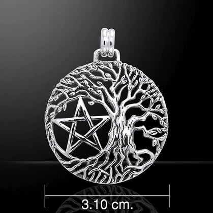 Silver Pentagram & Tree of Life Necklace