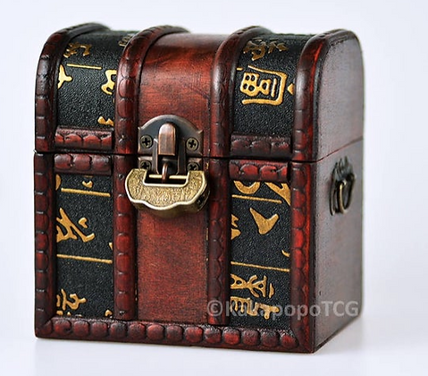 Wooden Treasure Chest - Ancient Scroll Design