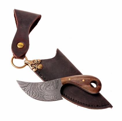 Damascus Neck Knife with Walnut Handle & Leather Sheath