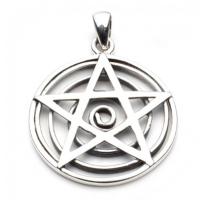 Silver Pentagram Spiral Necklace