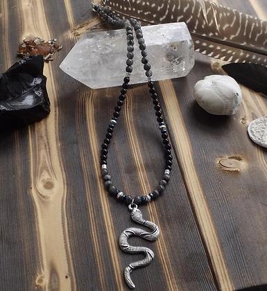 Black Onyx & Larvikite Serpent Necklace