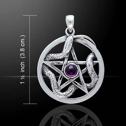 Silver Pentacle With Weaving Snake Necklace