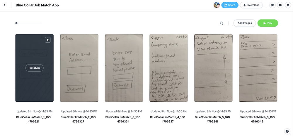 Some of the screenshots shown in the paper prototype