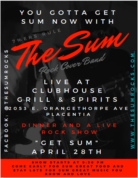 The Sum Live at the Clubhouse in Placentia 9:30. Be There Or Be L7