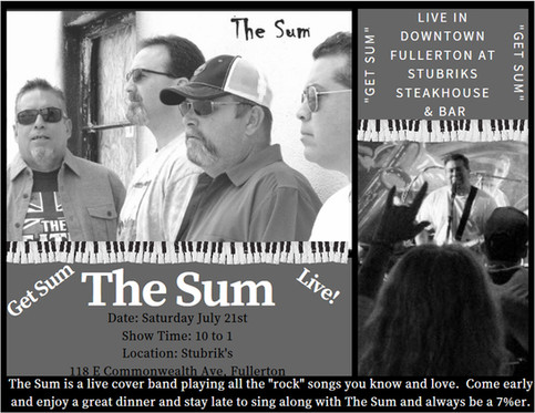 The Sum Live in Downtown Fullerton at Stubrik's Steakhouse & Bar