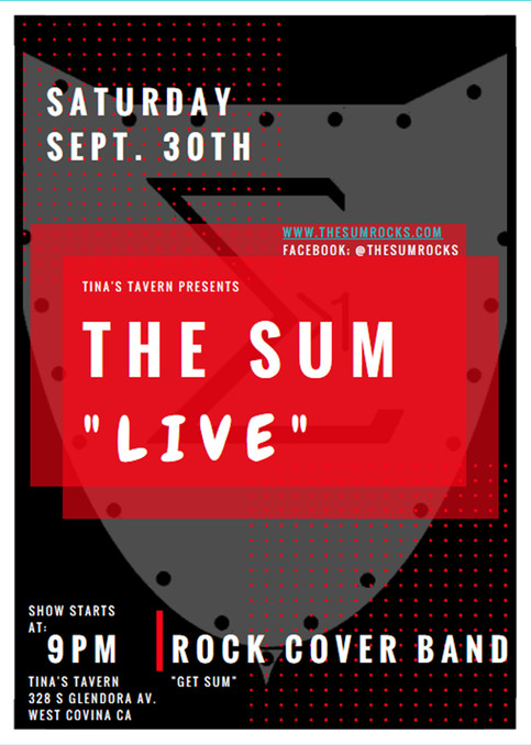 The Sum Back Again To Tina's Tavern Saturday Sept. 30th, 2017 at 9 PM For The G-8 Summit