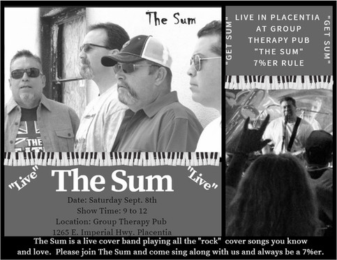 Join The Sum Live Sept 8th, at Group Therapy Pub in Placentia