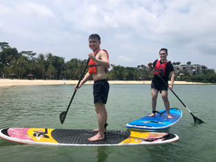 Friends learning to SUP with Celine@Sea!
