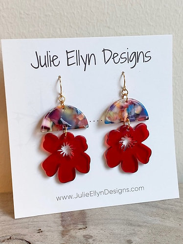 Red Flower Resin Earrings