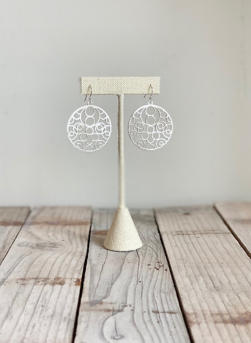 Blowing Bubbles Brushed Silver Earrings
