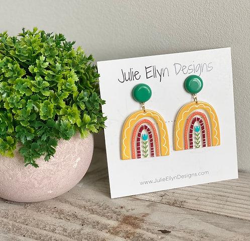 Bright Sunshine Rainbow Stud Earrings