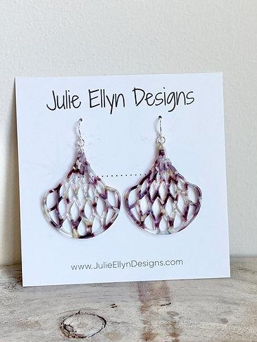 Purple Lattice Fan Earrings
