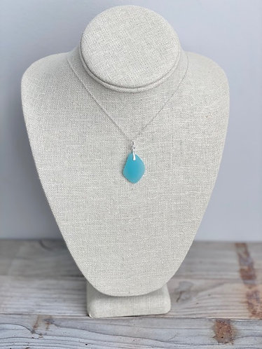 Frosted Light Blue Sea Glass Pendant Necklace