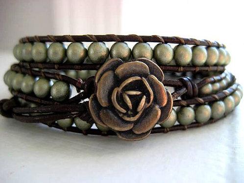Elena Goddess Bracelet in Matte Gold Beaded Leather Triple Wrap Bracelet