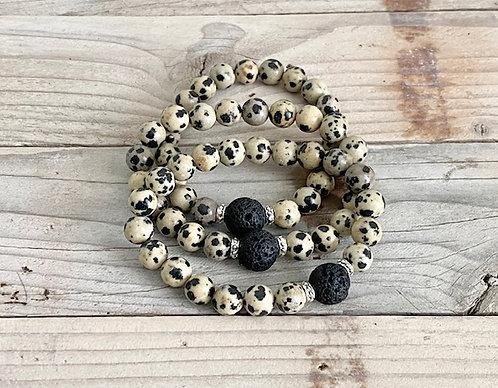 Dalmatian Jasper and Lava Rock Stretch Bracelet