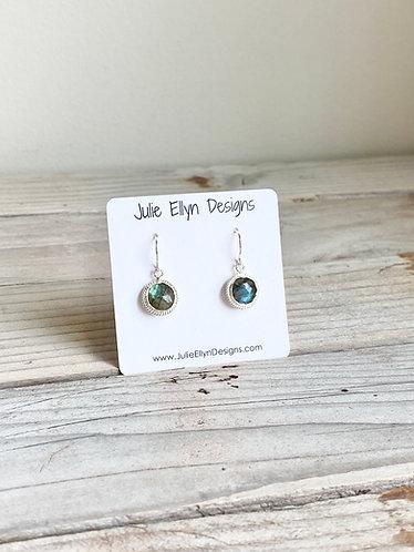 Dainty Round Labradorite Dangle Earrings