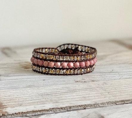 copy of Custom Gemstone and Leather Cuff - Pink Rhondolite