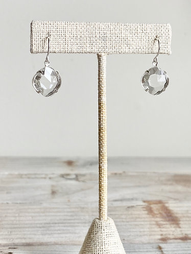 Faceted Crystal Earrings - Octagonal