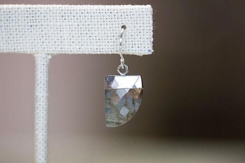 Modern Flat Gemstone Earrings, Labradorite