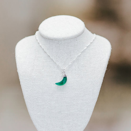 Green Onyx Crescent Moon Necklace