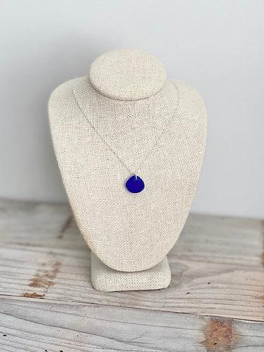 Petite Cobalt Sea Glass Pendant Necklace