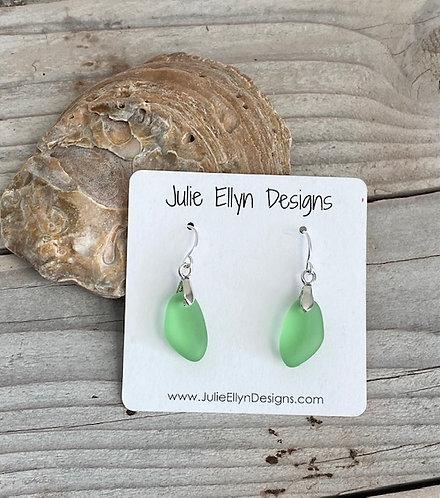 Light Green Sea Glass Earrings