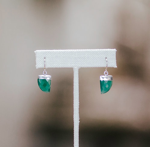 Modern Flat Gemstone Earrings, Green Onyx
