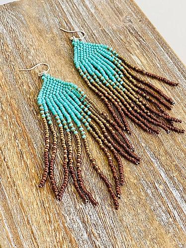 Hand Beaded Fringe Earrings