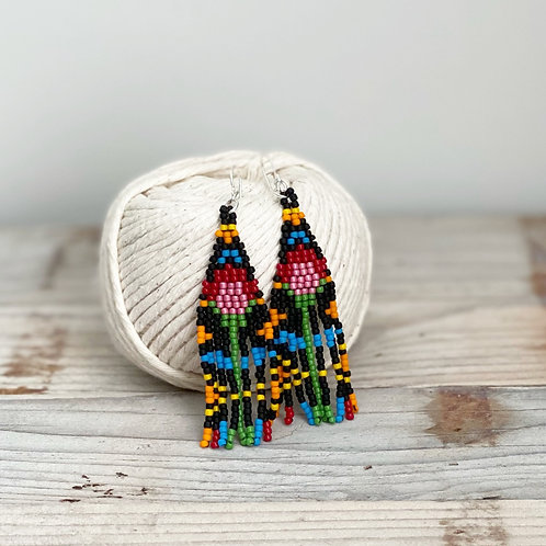 Colorful small Hand Beaded Fringe Earrings