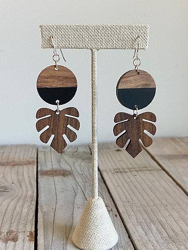 Long Monstera Wood Earrings in Black