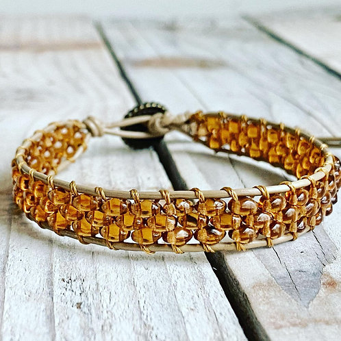 Leather Single Wrap Bracelet - Stacked Duo in Amber