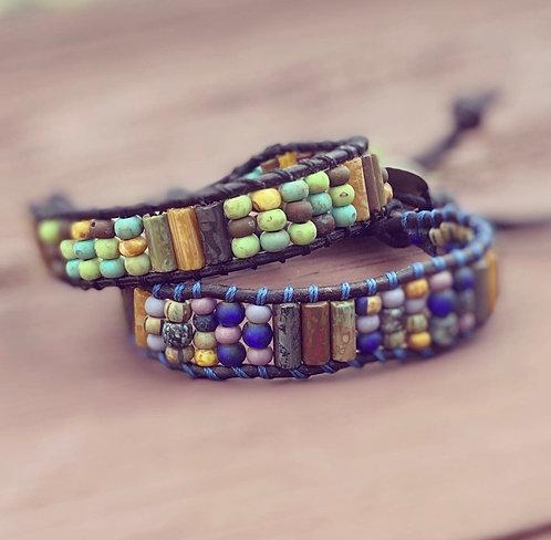 Leather Single Wrap Bracelet - Blues
