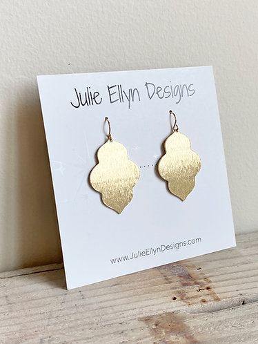 Brushed Brass Closed Arabesque Earrings