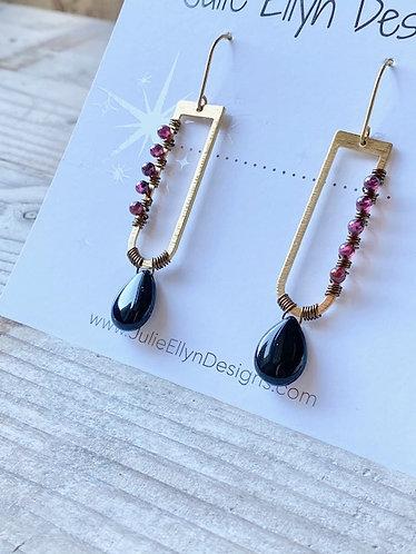 Elongated Gemstone Wrapped Earrings - Garnet and Onyx