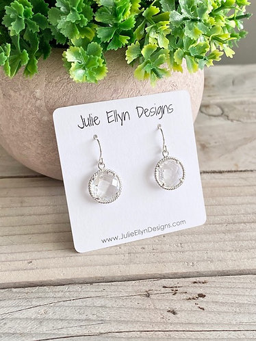 Faceted Crystal Earrings - Round