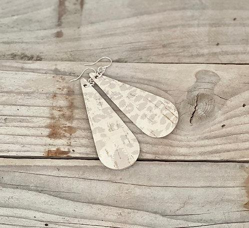 Cream Leopard Print Teardrop Leather Earrings