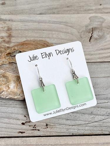 Light Green Square Sea Glass Earrings