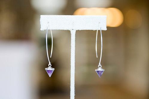 Amethyst Gemstone Point Dangle Earrings