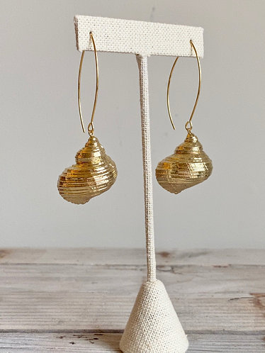 Gold Dipped Seashell Long Earrings