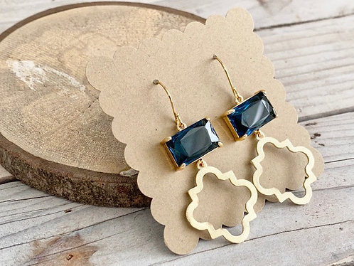Sparkle Collection -  Rectangle Blue Crystals and Quatrefoil