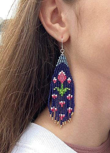 Navy Floral Hand Beaded Fringe Earrings