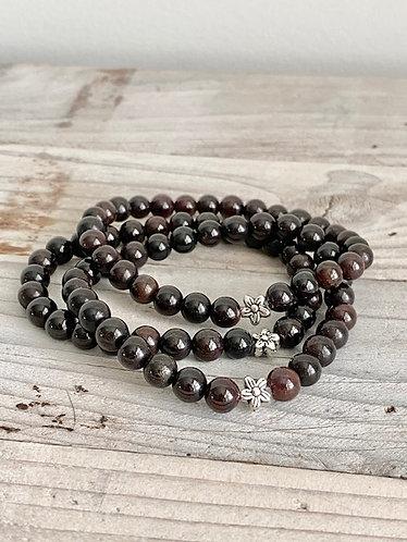 Rustic Garnet Stretch Bracelet