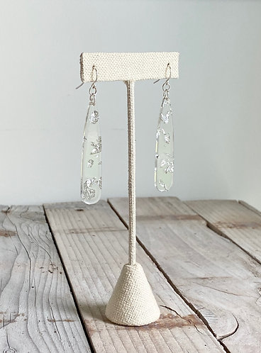 Long Clear Acrylic Earrings - Silver Flakes