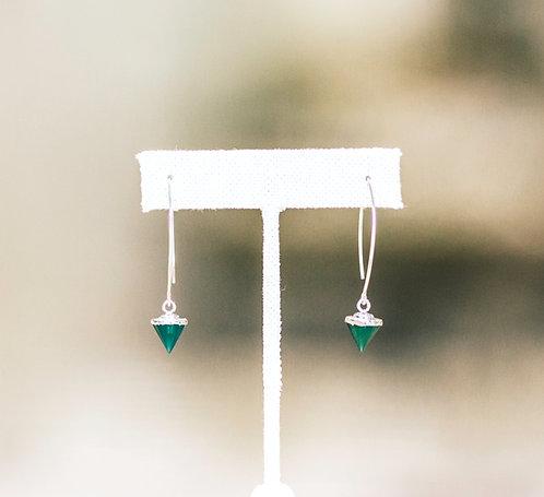Green Onyx Gemstone Point Dangle Earrings