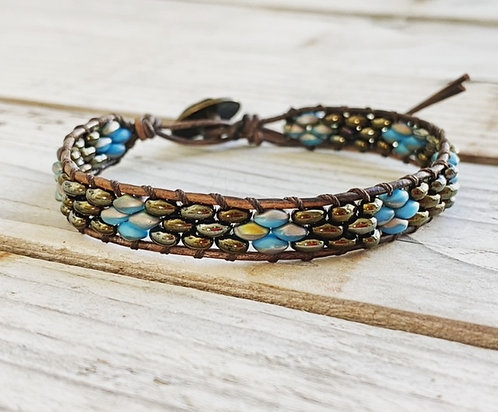 Leather Single Wrap Bracelet - Brown and Blue