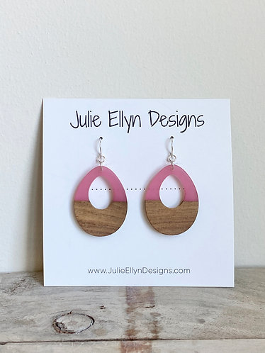 Wood and Resin Teardrop Earring -Pink