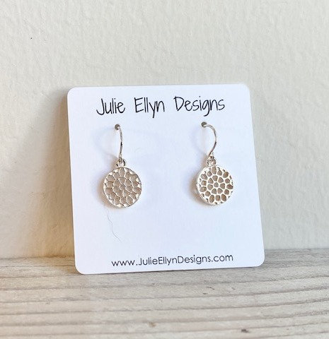 Tiny Sterling Silver Honeycomb Earrings