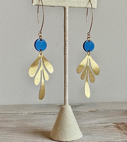 Long Leaves Dangle Earrings - Blue