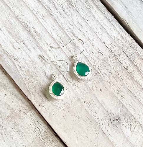 Dainty Green Onyx Dangle Earrings