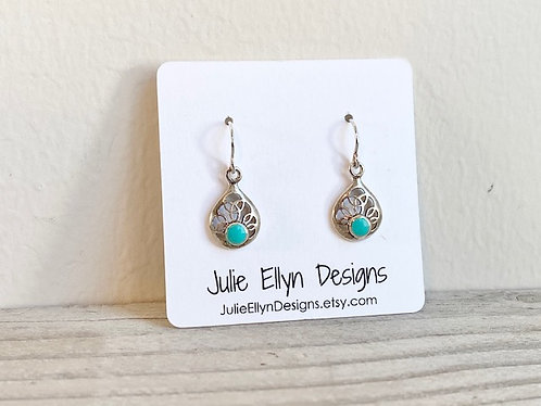 Petite Simply Silver, Turquoise Studded Dainty Filigree Earrings